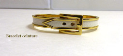 Bracelet en forme de ceinture or avec intérieur blanc