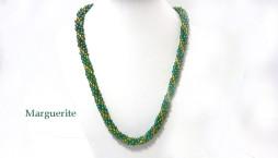 Collier de perles Marguerite, en perles de verre de couleur verte avec insertion de perles de verre jaune et fermoir pour les personnes qui ont des douleurs aux mains.
